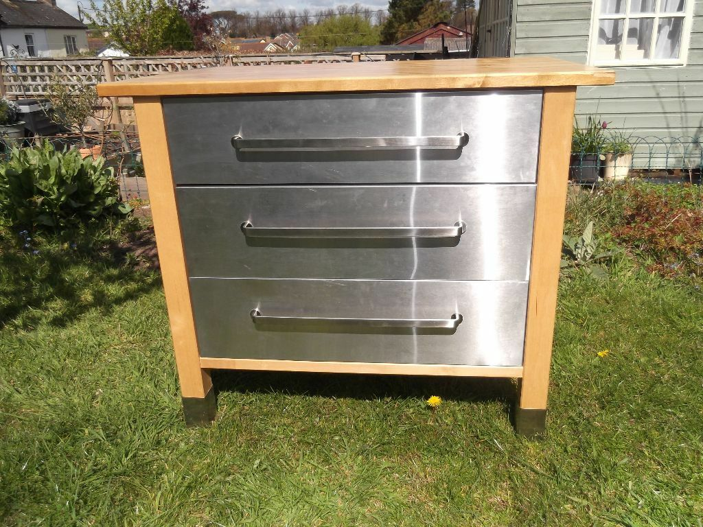 Reduced ikea varde freestanding 3 drawer stainless steel kitchen unit with birch beech - Ikea freestanding kitchen ...