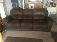 3 seater and single chair. Reclining brown leather ( swede)