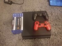 Ps4 with two controllers and six games