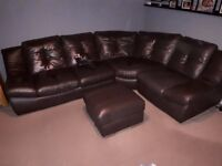 CSL Leather Corner Sofa + Storage Foot Stool + Leather Care Kit