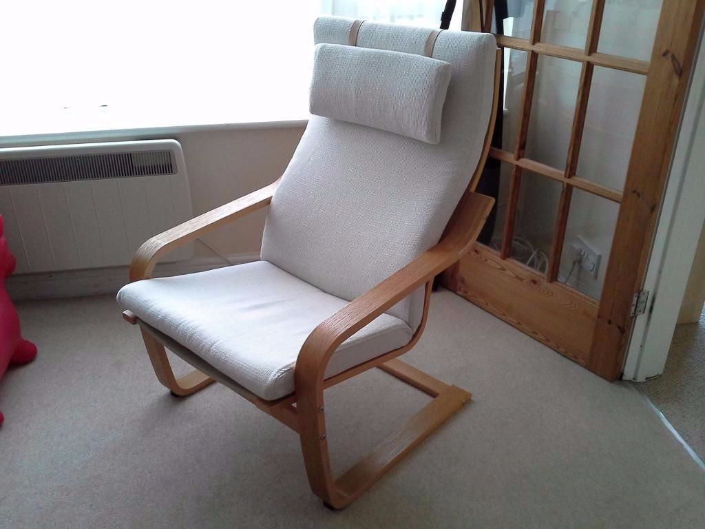 Cream Ikea Poang Chair With Headrest In Carshalton