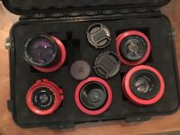 4x Russian Lenses in PL Mount – 37mm, 50mm, 58mm, 135mm – Lomo Helios Kontar CINEMA 35mm