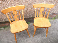 Two Hardwood Fiddleback Kitchen or Dining Chairs - £15 the Pair