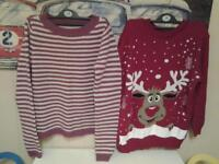 """TWO NEW+UNWORN LADIES SIZE 'MED' (12-16?) JUMPERS """"CHRISTMAS"""" AND """"GAP"""""""