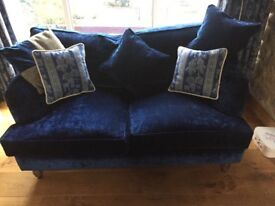Midnight blue crushed velvet sofa from Sofas & Stuff. 3 years old smoke free home. Great condition.
