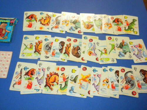 35 THE FLINTSTONES PLAYING CARD GAME PRE-HISTORIC ANIMAL RUMMY ED-U-CARDS 1961