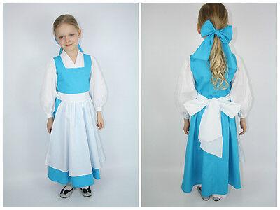 Beauty and the Beast Belle's White&Blue tea lengt dress +hair bow 4 5 6 7 8 9 10
