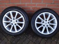 """Honda Civic 16"""" ALLOY wheels with nearly NEW tyres PAIR"""