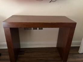 Brown console table and side tables