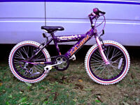 "girls 18"" wheel mountain bike very nice bike fully serviced sparkly colour purple & pink"