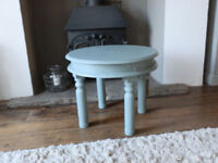 Round Duck Egg Blue Lamp Table