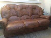 Brown Leather 3+1+1 Suite (Sofa & 2 Matching Chairs)