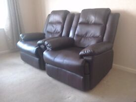 2 Faux Leather Armchairs - Brown