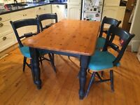 Pine kitchen table with 4 chairs