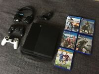 Sony Playstation 4 + 5 Games + Headset + 2 controllers