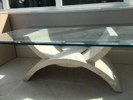 Alabaster glass top coffee table