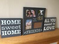 Set of three canvas and match photo frame - grey wooden