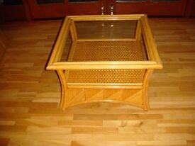 CANE COFFEE TABLE WITH GLASS TOP VGC