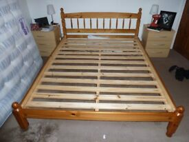 king size pine bed with mattress