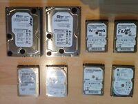 8 Hard Drives Samsung, Western Digital, Hitachi, Seagate 160GB, 250Gb, 1 terabyte