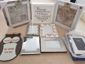 Assorted decor and frames - some brand new, some also boxed. 3D Wall Art, Love, Owl, Butterfly.