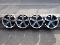 """4xNew 19"""" TTRS Rotor Black Edition Style Alloy Wheels A3, A4, A6, VW GOLF, JETTA, CADDY, SEAT LEON"""