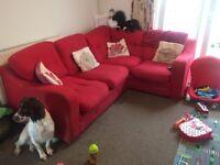 Harveys red fabric corner sofa