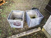 "LEAD PLANTERS x 2 IN VERY GOOD CONDITION 15"" CUBED IDEAL FOR SMALL TREES EITHER SIDE FRONT DOOR"