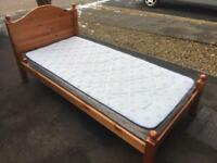 Solid pine single bed with mattress
