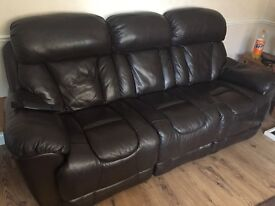 Dfs three seater & a two seater (brown leather)open to offers