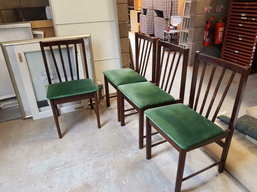 6x Dark Wood Chair With Green Pad In Musselburgh East