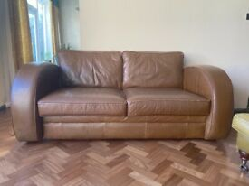 Settee The Chesterfield Company Art Deco Style Astoria 3 Seater Leather Sofa Brown