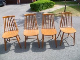 Set of 4 teak danish style vintage dining chairs, Ercol