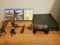 PS4 500GB with 1 controller , Headset and 3 Games and all cables