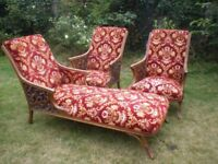 ANTIQUE FRENCH LOUNGE SUITE Chaise lounge and two armchairs