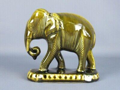 Thai Celadon Vintage Figure Elephant Statue Porcelain Enamel