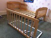 Mothercare cot bed, Baby Dan bed guard and Mothercare mattress