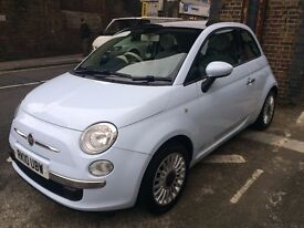 FIAT 500 LOUNGE FOR SALE - LIGHT BLUE - PANORAMIC GLASS ROOF - BLUETOOTH - FULL SERVICE HISTORY