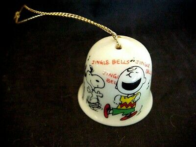 "Charley Brown Snoopy miniature 1958  porcelain Christmas Bell  Schultz 1 1/2"" for sale  Honolulu"