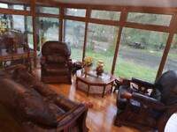 3 piece leather sofa, 2 arm chairs
