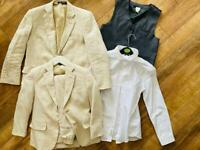 2 x boys linen suits age 6 & 10yrs plus M&S shirt x 1 & waistcoat x1 Perfect WEDDING outfit!!!!