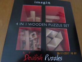 NEW = Imagin 4 in 1 Wooden Puzzle Set