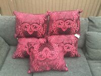 5 New Dorma Burgundy Duck Feather Filled Cushions RRP £150