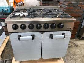 NEW OZTI Commercial Nat Gas Cooker Oven 6 Burner - RANGE WITH OVEN