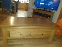 Solid Oak Corner TV Unit, Coffee Table & Nest of tables