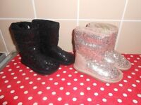 NEW - GIRLS BLACK & GOLD SEQUINED BOOTS FROM NEXT - INFANT SIZE 3