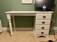 URGENT Desk or Dressing Table White Refurbished Pine 4 Drawers