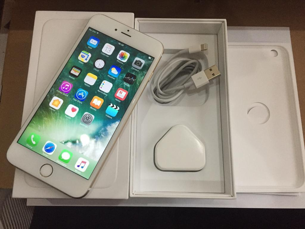 iPhone 6 Plus 64GB Gold Factory Unlocked Sim Free Excellent Condition Boxed with Plug and Lead