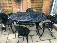 Stunning victorian rose design garden table and chairs in magnificent condition
