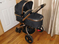 Mothercare Orb Pram & Car seat/base/adaptors bundle + FREE 2 pram toys
